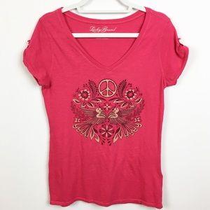Lucky Brand Peace Sign Pink Short Sleeve T-Shirt